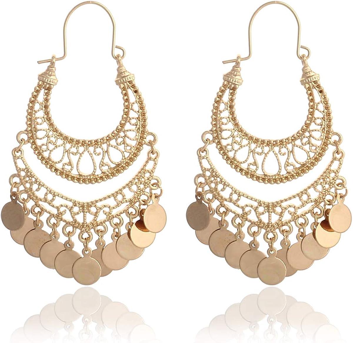 Boho Glam dramatic dressy light weight matte gold metal rod dangle drop pierced earrings wgraduating gold faceted drop beads /& ear wires
