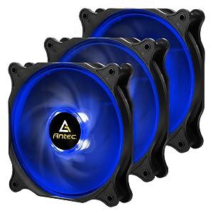 Antec F12 High Performance RGB LED (Blue LED) Case Fan, 4-pin Molex Connector, 3 Packs