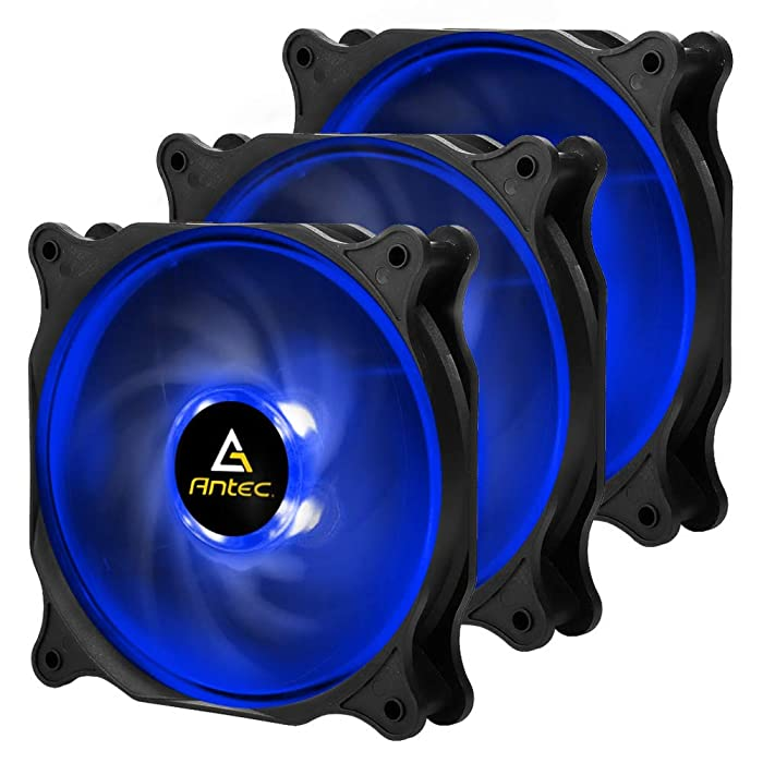 Antec F12 High Performance RGB LED (Blue LED) Case Fan, 4-pin Molex Connector, 3 Packs