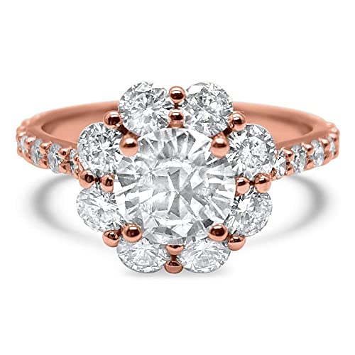 d22a5bb22d1 Amazon.com: 2.12 Carat Forever ONE colorless flower halo engagement ...