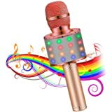 Karaoke Microphones Wireless Bluetooth Portable Handheld kids karaoke machine with Flash LED lights, Aluminum alloy handle, Speaker, Compatible Android/PC and All types of Smart phone(Rose Gold)