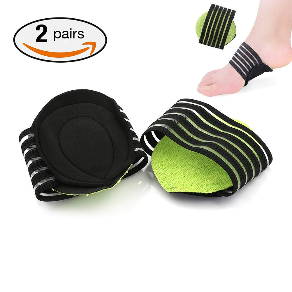 2 Pairs Extra Thick Cushioned Compression Arch Support with More Padded Comfort for Plantar Fasciitis, Fallen Arches, Heel Spurs, Flat and Achy Feet Problems (for Men and Women) Tinkber