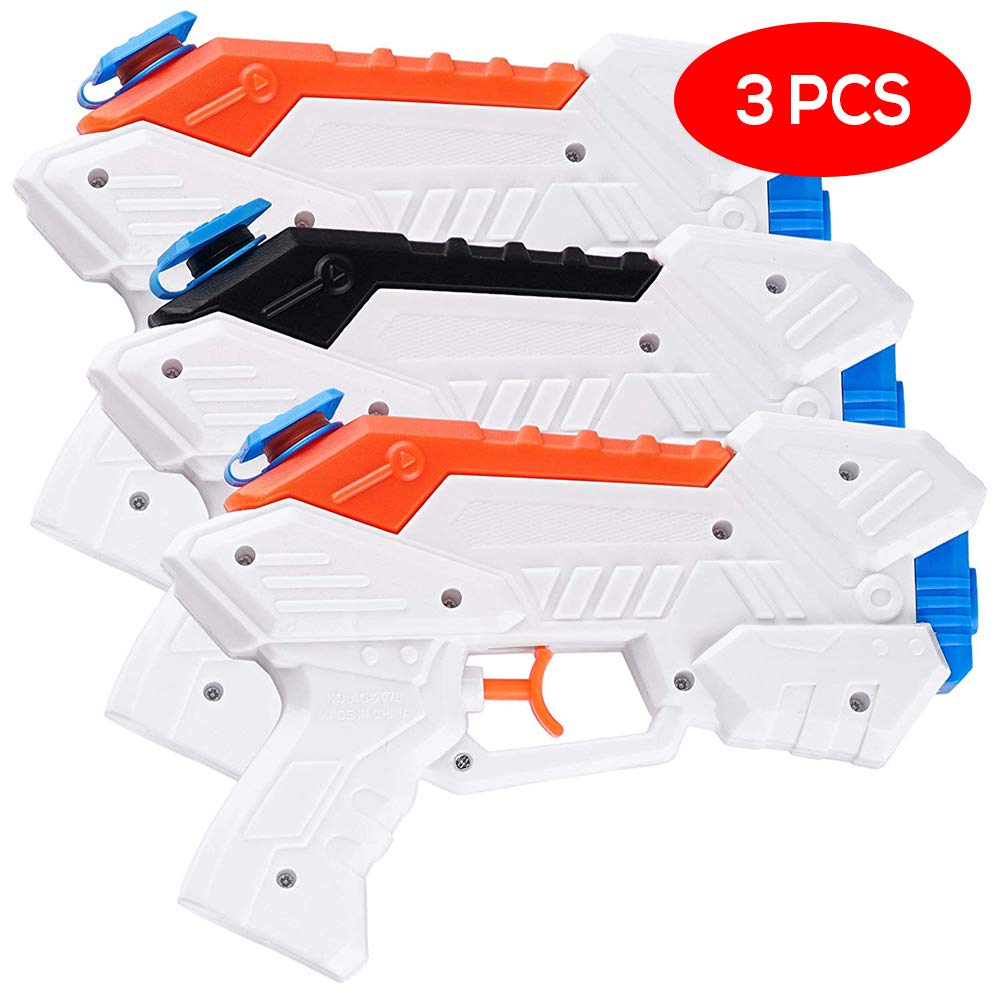 e359f6d1f0 3 Water Pistol Gun Squirt Blasters - Bright Colours Super Soaker - Long  Range (Shoots up to 18ft) & Easy Push Trigger - Toy Water Pistol for Kids &  ...