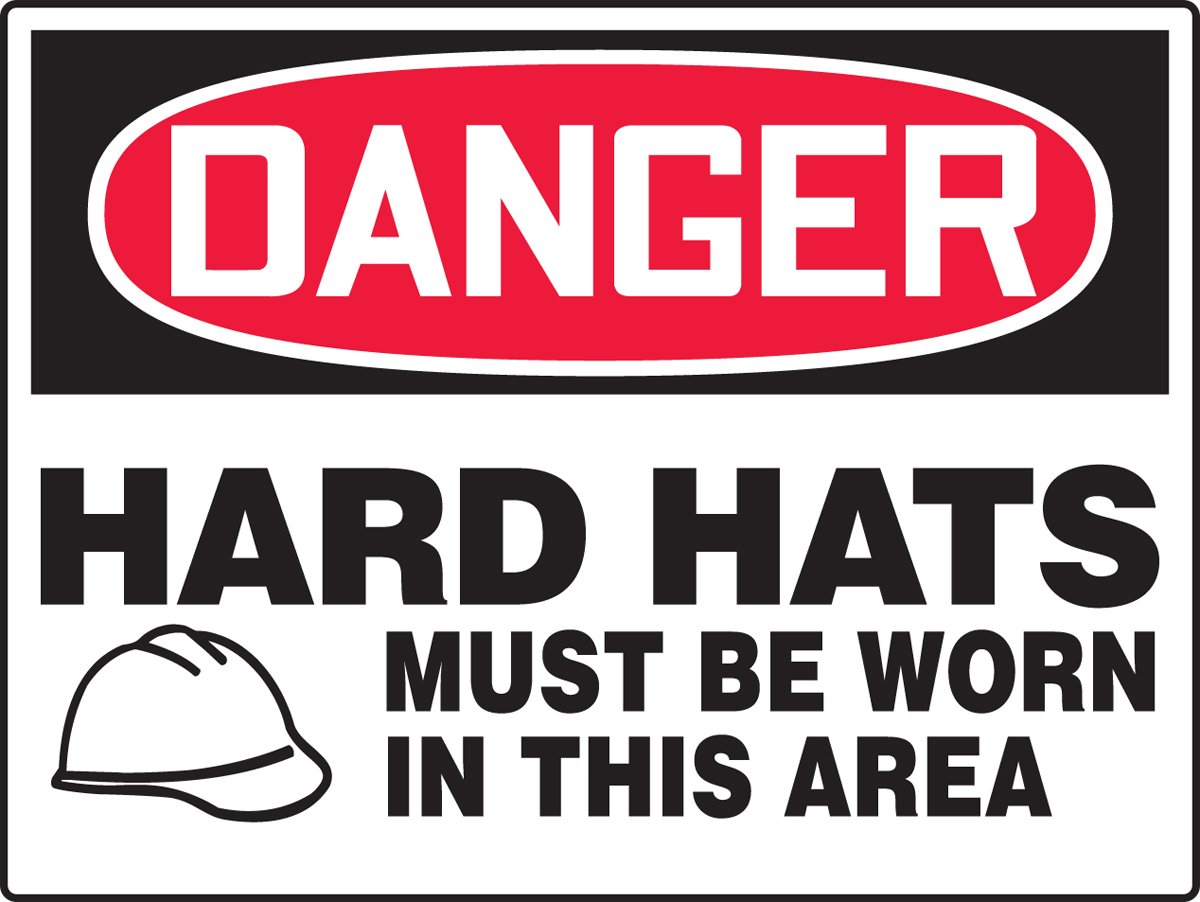18 Length x 24 Width x 0.006 Thickness Accuform MPPE154XV Adhesive Dura-Vinyl BIG Sign Red//Black on White LegendDANGER HARD HATS MUST BE WORN IN THIS AREA