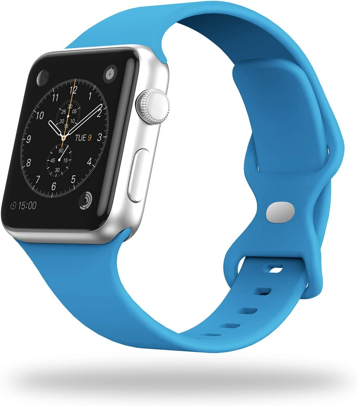 STG Smart Watch Band Compatible with Apple Watch Band 38mm 40mm 42mm 44mm, Soft Silicone Replacement Sport Strap Compatible for iWatch SE Series 6/5/4/3/2/1 (38/40mm, Surf Blue)