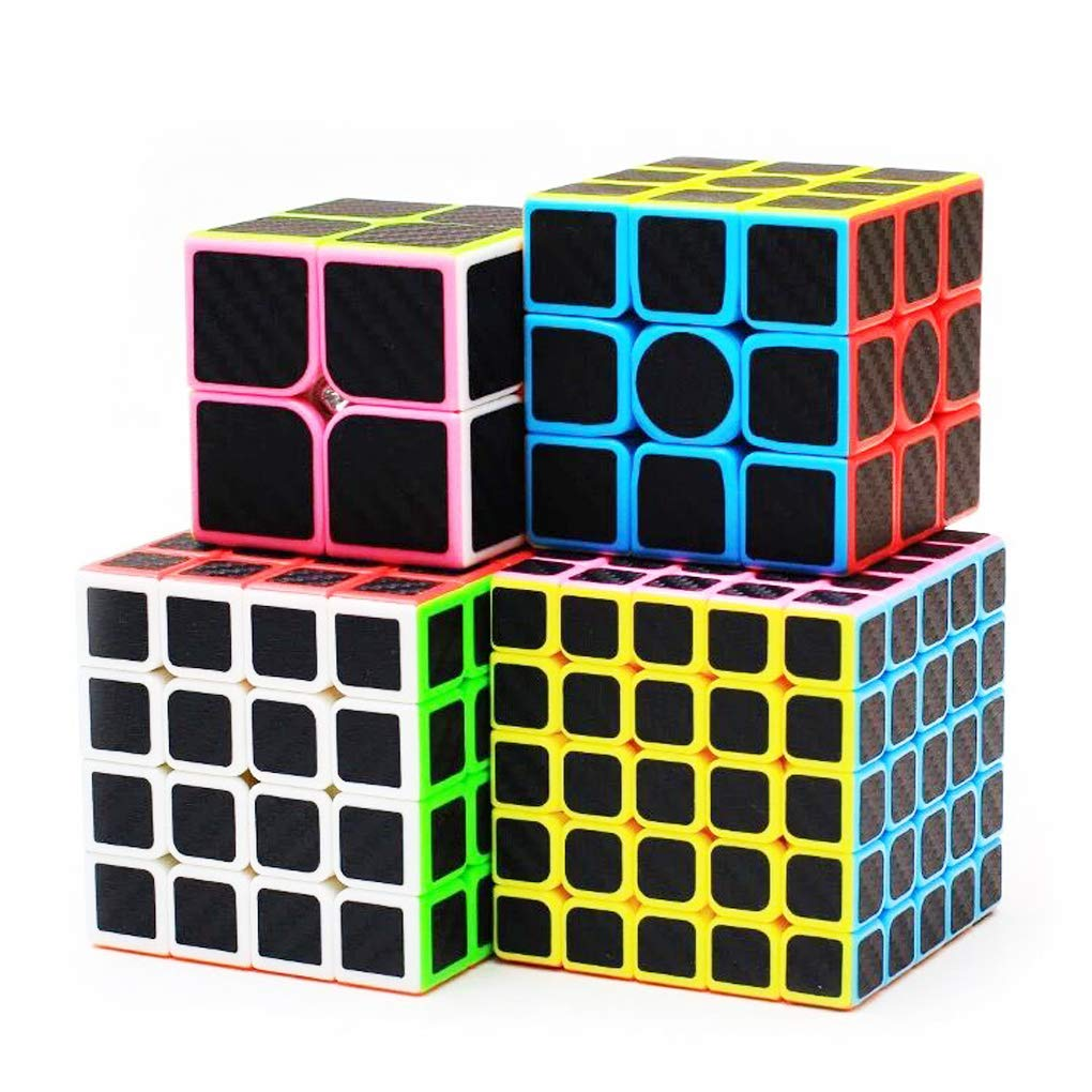 TOYESS 4 Pack Carbon Fibre Cube Set, Smooth Magic Cube Set of 2x2x2 3x3x3 4x4x4 5x5x5 Carbon Fiber Speed Cube Professional Puzzle Cube, Brain Teasers Toys with Gift Packing for Kids /& Adults