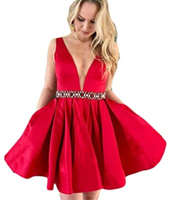 16d5799bc02 Amazon.com  HerDress Women s V-Neck Beaded Prom Dresses Short Formal  Evening Gowns Party Dresses Satin Homecoming Dress 2018  Clothing