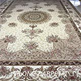 Yilong 12'x18' Oversize Oriental Silk Rugs Classic Persian Medallion with Floral Pattern Handmade Carpet for Living Room (12 Feet by 18 Feet, Beige) YN062