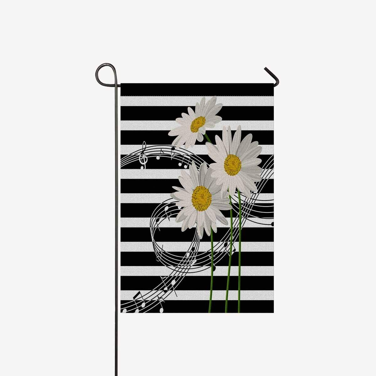 Amazon music notes and daisies flowers on black and white amazon music notes and daisies flowers on black and white stripes lines garden flag decorative for garden and home decorations house banner 12 x 18 izmirmasajfo