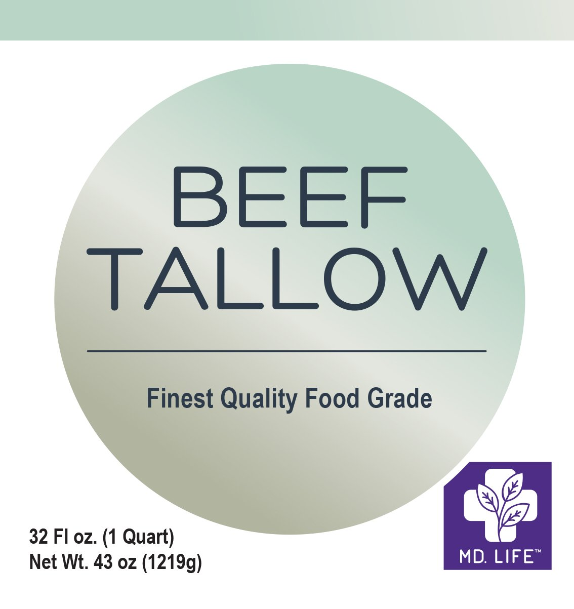 Save $$ MD.LIFE Beef Tallow 1 Gallon 4-32 Oz Tubs - Compare to Beef Tallow, Grass-Fed, Kettle Rendered and Fine Filtered, by MD.LIFE (Image #2)