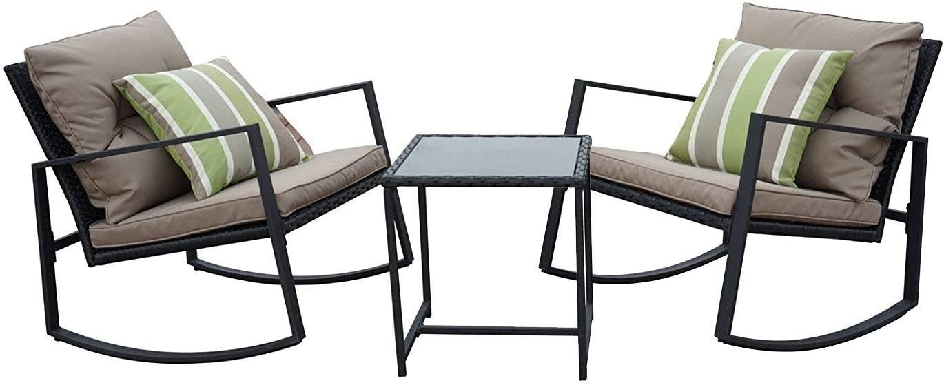 Kozyard Moana Outdoor 3-Piece Rocking Wicker Bistro Set, Two Chairs and One Glass Coffee Table, Black Wicker Furniture Taupe Cushion Lime Stripe Pillow