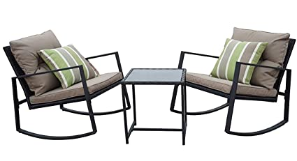 Superieur Kozyard Moana Outdoor 3 Piece Rocking Wicker Bistro Set, Two Chairs And One  Glass