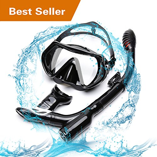 Diving Snorkel Set FYU with Diving Mask Tempered Glass, Dry Snorkel Set with Carry bag and Anti-Fog Lens for Adult Womens Mens(ALL BLACK, DOUBLE DRAINAGE)