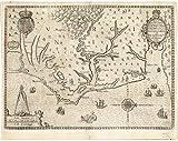 """Historic Map   1590 America pars, nunc Virginia dicta, primum ab Anglis inuenta, sumtibus Dn. Walteri Raleigh, equestris ordinis Viri, Anno DnI""""i. MDLXXXV   Antique Vintage Reproduction"""