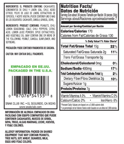 Amazon.com : Snak Club Cacahuates C.Chile Y Limon, 7-Ounce Bags (Pack of 6) : Peanuts : Grocery & Gourmet Food