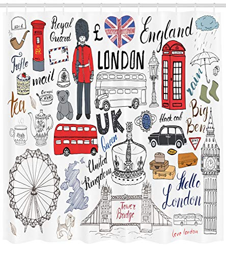 Ambesonne Doodle Shower Curtain, I Love London Double for sale  Delivered anywhere in USA