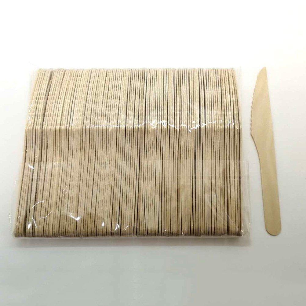 BESTONZON 150pcs Cubiertos de madera conjunto 50pcs cucharas 50pcs tenedores 50pcs cortadores Cubiertos de madera desechables Utensilios de mesa para la cena Barbacoa