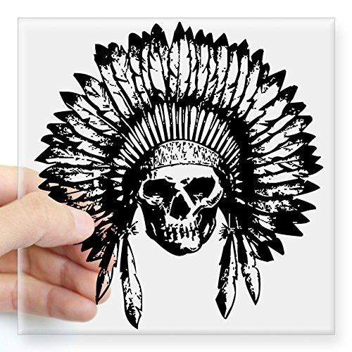 CafePress Native American Skull Sticker Square Bumper Sticker Car Decal, 3