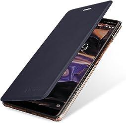StilGut Berlin Book Type Case, Custodia per Nokia 7 Plus con NFC/RFID Blocker in plastica Trasparente con Patta in Pelle Nappa.