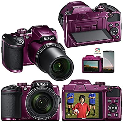 Nikon COOLPIX B500 16MP CMOS Wi-Fi, NFC Digital Camera with 40x Zoom Lens & HD Video (Plum) - International Version (No Warranty) + 8pc 8GB Accessory Kit w/ HeroFiber Ultra Gentle Cleaning Cloth by Nikon