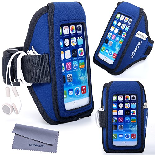 Wisdompro Armband for iPhone 6 6s Commuter Series or Lifeproof Cases with Key Holder Headphones Organizer-Black SM Galaxy S7 S6 S6 Edge S5 Workout Running Exercise Case for OtterBox Defender