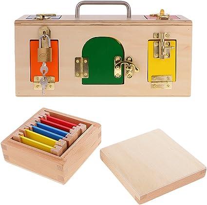 B Blesiya Montessori Juegos de Bloques con Caja de Color de Madera Juguete de Desarrollo de Inteligencia para 1-4 Años Niños: Amazon.es: Juguetes y juegos