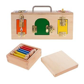 B Blesiya Montessori Juegos De Bloques Con Caja De Color De Madera