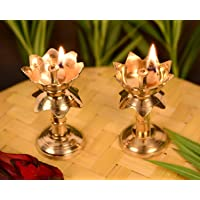 Collectible India Set of 2 Brass Antique Finish Lotus Shape Kamal Diya Oil Lamp for Home Temple Akhand Puja Articles Decor Gifts (Size 3.8 Inch, 2Pcs)