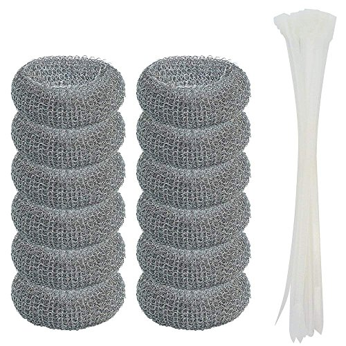 12 Pack Washing Machine Lint Traps with 12 Nylon Cable Ties, Wobe Laundry Mesh Washer Sink Drain Hose Screen Filter the Laundry Water Lint Trap Snare Net Rustproof Lint Catcher ()