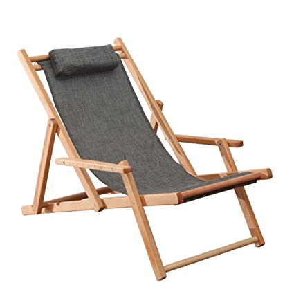 Amazon.com: Beach Chair Wood Deck Chair Outdoor Folding Collapsible ...