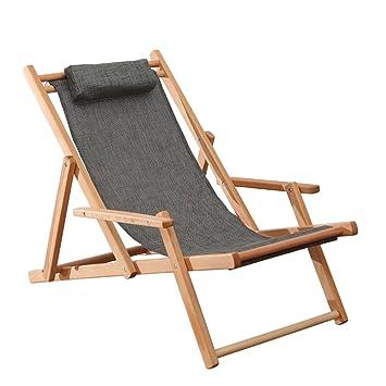 Amazon.com: Beach Chair Wood Deck Chair Outdoor Folding ...