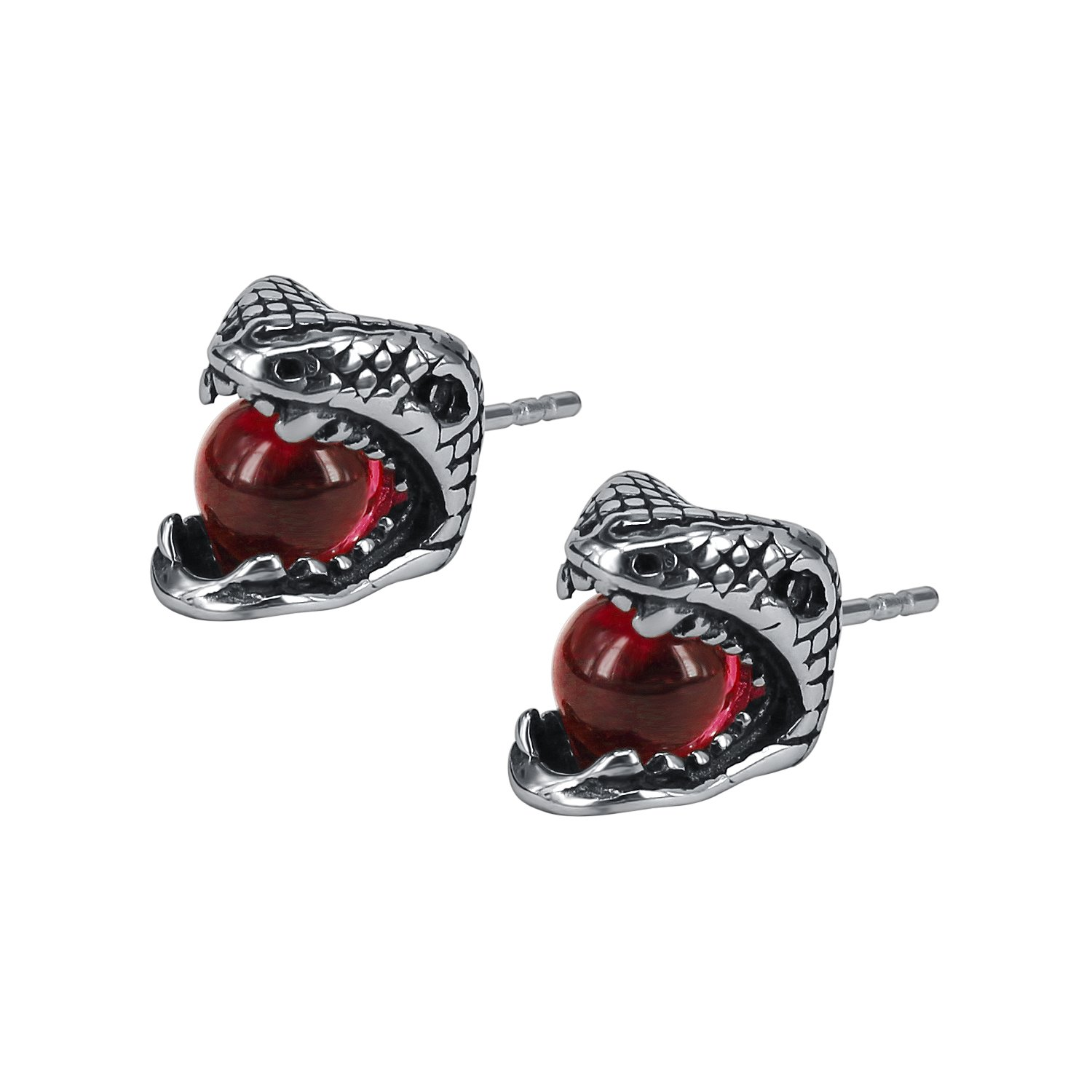 614419a98 Amazon.com: Nickel Free Surgical Steel Earrings Studded Snake Head With  Round CZ Stone in the Mouth Cool Earrings Men (Red): Jewelry