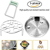 Steamer Basket Rack Set For Instant Pot Accessories - Fits Instant Pot 5, 6, 8qt Pressure Cooker includes Bowl Plate Dish Clip Clamp, Stainless Steel Pack of 3