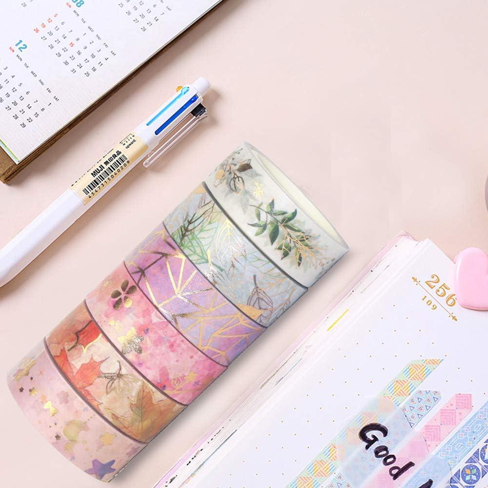 emballage cadeau Lot de 6 rouleaux de ruban adh/ésif Washi Tape d/écoratif scrapbooking feuille dor/ée ruban de masquage d/écoratif /à motif floral color/é pour travaux manuels bricolage