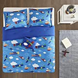 Full/Queen Bedding for Boys - Wright 4 Piece Cute Kids Bedding Set Printed Blue Airplanes Helicopters - incl. Boy Queen Comforter Shams Décor Pillow
