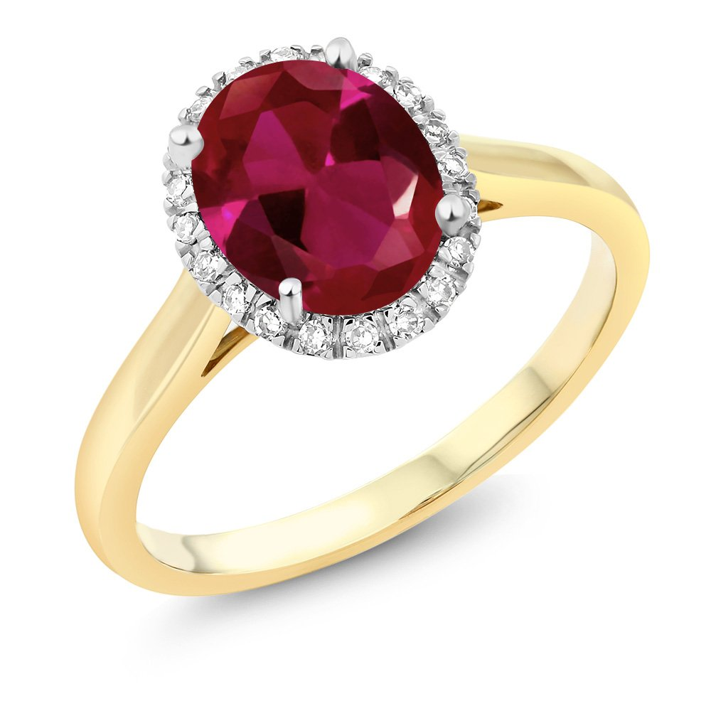 Gem Stone King 10K Two-Tone Gold Oval Red Created Ruby and Diamond Halo Engagement Ring 2.00 Ct (Size 5)