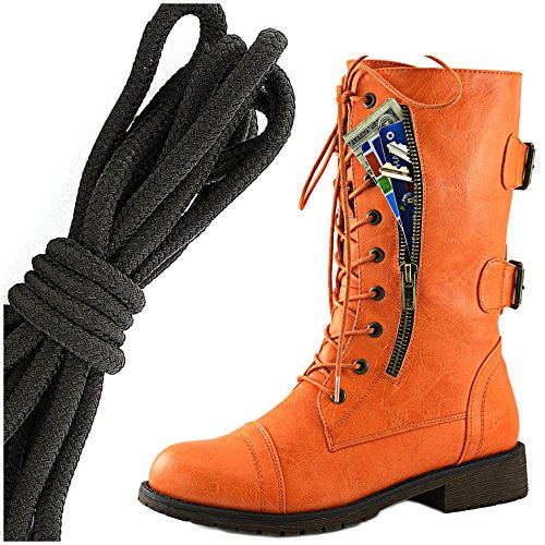DailyShoes Womens Military Lace Up Buckle Combat Boots Mid Knee High Exclusive Credit Card Pocket, Solid Black Sassy Orange