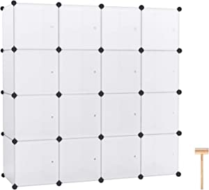 """C&AHOME Cube Storage Organizer, 16-Cube Modular Book Shelf, Plastic Organizing Units, Storage Shelving with Doors, Ideal for Bedroom Living Room Office 48.4"""" L × 12.4"""" W × 48.4"""" H Translucent White"""