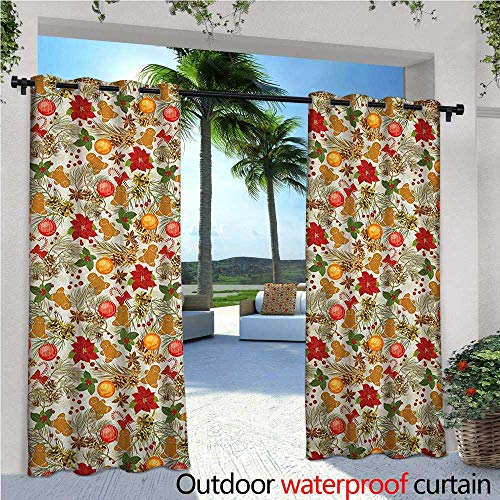 Christmas Outdoor- Free Standing Outdoor Privacy Curtain Vivid Colorful Xmas Theme Pine Cones Branches Gingerbread Man Berry Image Print for Front Porch Covered Patio Gazebo Dock Beach Home W120