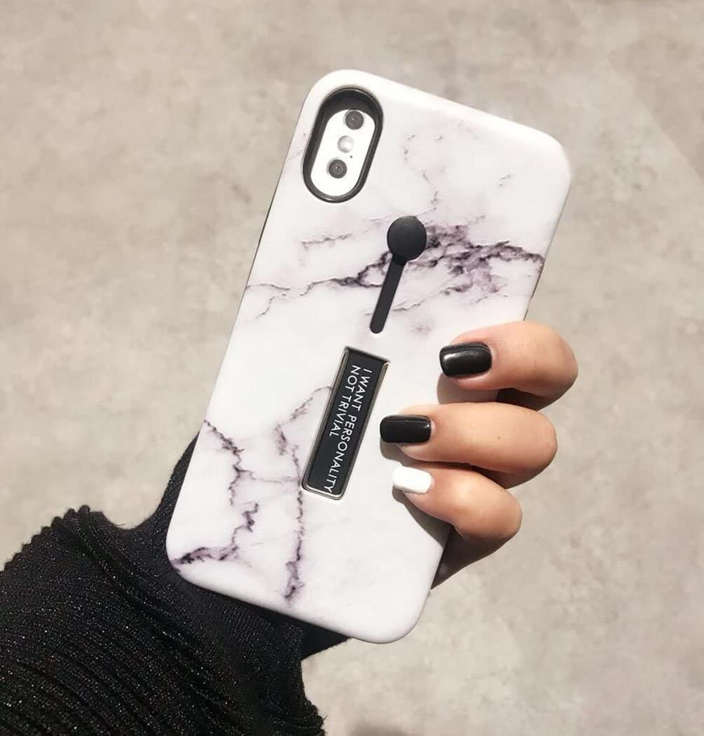 Omio for iPhone7 Plus / iPhone8 Plus Case, Marble Stone Cover Ring Grip Holder Kickstand Finger Circle Strap Stand IMD Ultra Thin Slim Smooth Shell for Apple iPhone 7 Plus/iPhone 8 Plus