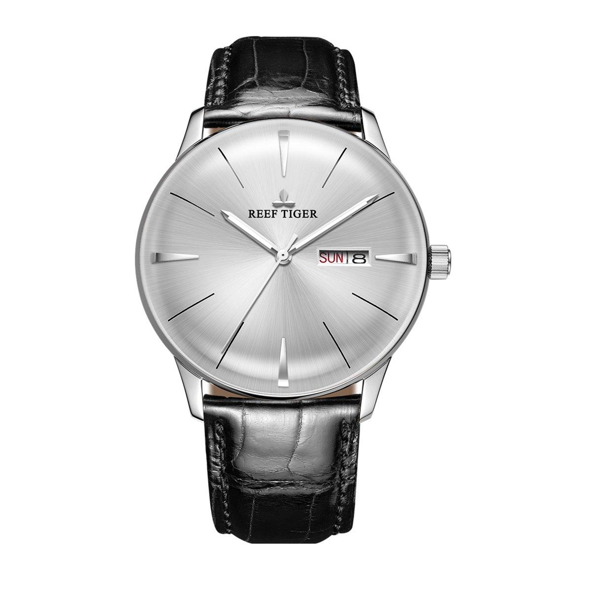 Reef Tiger Classic Dress Watches Mens Convex Lens Glass Mechanical Watches Calfskin Strap RGA8238 (RGA8238-YWB)
