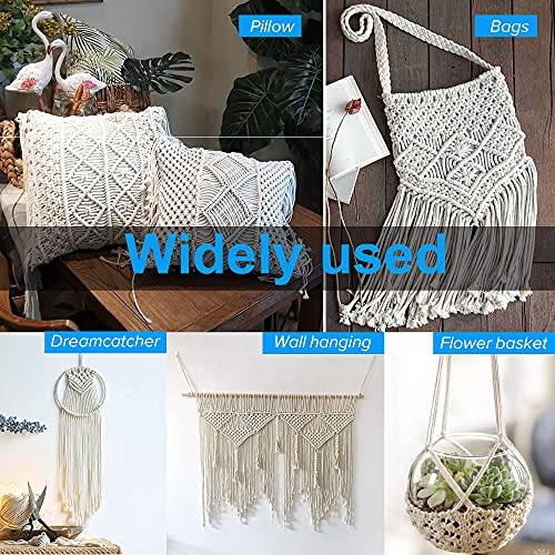 Venroii Macrame Cord 3mm, 100% Natural Cotton Macrame Craft Rope, 4 Strand Twisted Soft Cotton Cord for Handmade Wall Hanging, Dream Catchers, Plant Hangers, Craft Cord