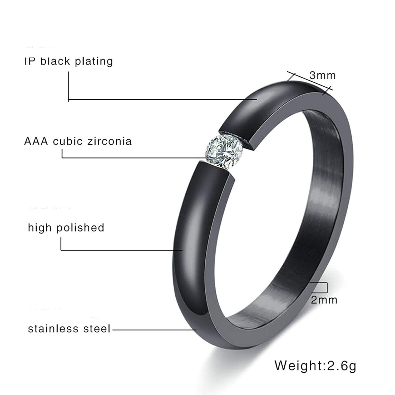 AMDXD Jewelry Rings Women Single Cubic Zirconia Black Stainless Steel Ring for Women 3 MM,Single Sale