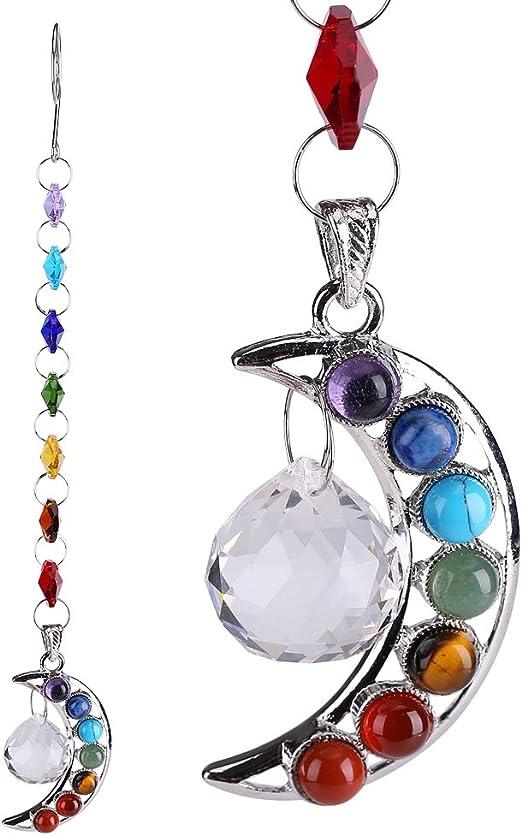 H/&D Half-moon Chakra Suncatcher Crystal Prisms Handmade Rainbow Ball Pendulum