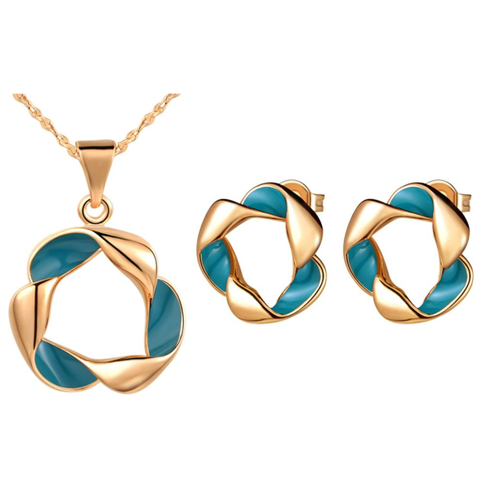 Onefeart Rose Gold Plated Necklace Pendant Earrings Jewelry Set for Women Twisted Circle Wedding Gifts