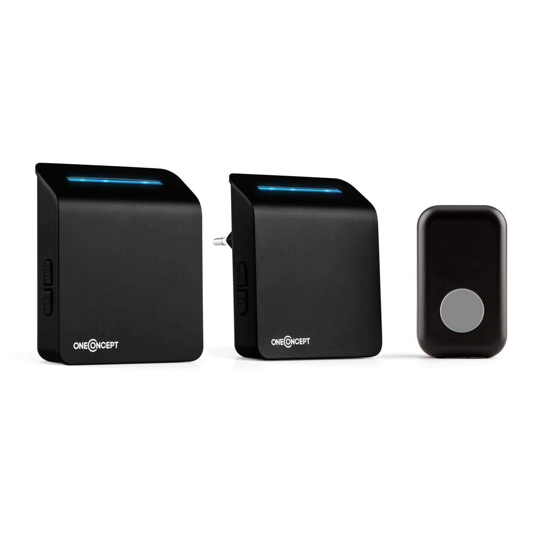 oneConcept Portaton 330 timbre de puerta por radio 3 piezas Receptor Plugin y con batería (emisor de señal, 2x receptores,...