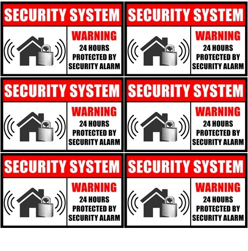 "Outdoor/Indoor (6 Pack) 3.54"" wide X 2.24"" high Home Business Security Burglar Alarm System Window Door Warning Alert Sticker Decals **Back Self Adhesive Vinyl**"