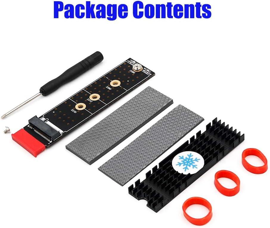 NGFF Black Vertical Installation nvme M Key SSD to PCI- E 1X Adapter Heatsink M.2