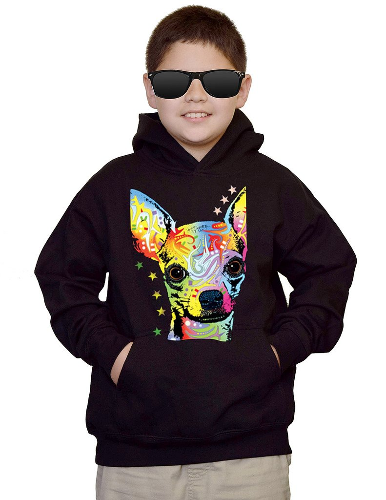 Youth Neon Chihuahua Dog Black kids Sweatshirt Hoodie Medium