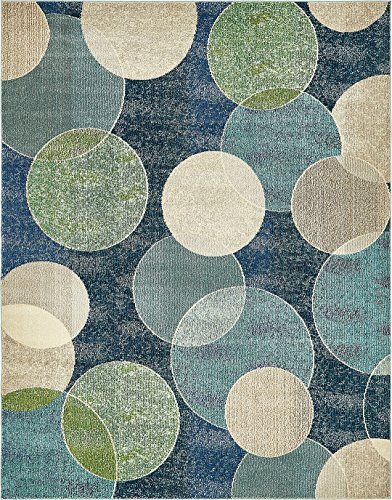 Mat Green Island Decor (Island Collection Modern Contemporary Rugs Living Dinning Bedroom Area Rug 8' x 10', Navy Blue)